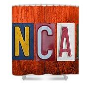 Mancave License Plate Letter Vintage Phrase Artwork On Burnt Orange Wood Shower Curtain