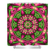 Mandala Green And Pink Shower Curtain