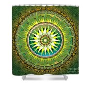 Mandala Green Shower Curtain by Bedros Awak