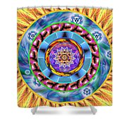 Mandala Wormhole 101 Shower Curtain by Derek Gedney