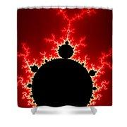 Mandelbrot Fractal Flash Power Red And Black Shower Curtain