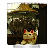 Maneki Neko Japanese Beckoning Money Cat 02 Shower Curtain