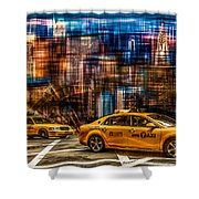 Manhattan - Yellow Cabs I Shower Curtain by Hannes Cmarits
