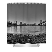 Manhattan And Brooklyn Bridge Fisheye Bw Shower Curtain