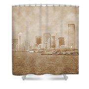 Manhattan And Liberty Island Vintage Shower Curtain