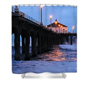 Manhattan Beach Pier Crashing Surf Shower Curtain