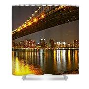 Manhattan Bridge By Night Shower Curtain