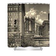 Manhattan Bridge Peeking Through Shower Curtain