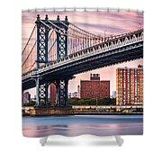 Manhattan Bridge Under A Purple Sunset Shower Curtain