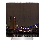 Manhattan Lit Up For The Super Bowl Shower Curtain