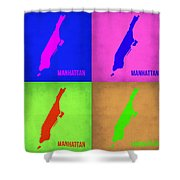Manhattan Pop Art Map 1 Shower Curtain by Naxart Studio