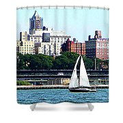 Manhattan - Sailboat Against Manhatten Skyline Shower Curtain