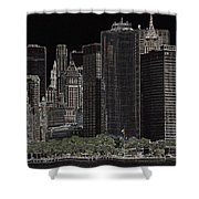 Manhattan Skyline Abstract Shower Curtain