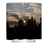 Manhattan Skyline At Sunset Shower Curtain
