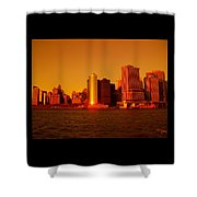 Manhattan Skyline At Sunset Shower Curtain