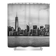 Manhattan Skyline Black And White Shower Curtain