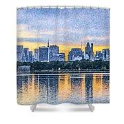 Manhattan Skyline From Central Park Reservoir Nyc Usa Shower Curtain