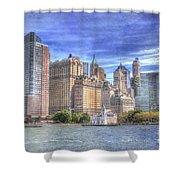 Manhattan Skyline From Hudson River Shower Curtain by Juli Scalzi