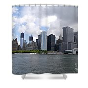 Manhattan Skyline From The Hudson River Shower Curtain