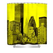 Manhattan Skyline In Yellow Shower Curtain