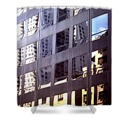 Manhattan Skyscraper Reflection Shower Curtain