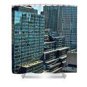 Manhattan Skyscrapers Labyrinth Shower Curtain
