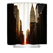Manhattanhenge Sunset And The Chrysler Building  Shower Curtain