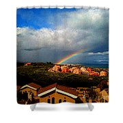 Spanish Landscape Rainbow And Ocean View Shower Curtain