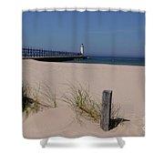 Manistee Harbor Lighthouse From Beach Shower Curtain