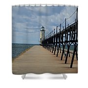 Manistee Lighthouse And Walkway Shower Curtain