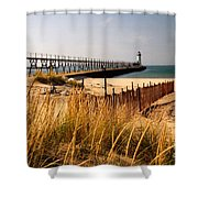 Manistee Lighthouse Shower Curtain by Crystal Nederman
