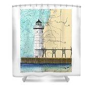 Manistee N Pierhead Lighthouse Mi Nautical Chart Map Art Shower Curtain