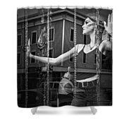 Mannequin In Storefront Shop Window In Black And White Shower Curtain