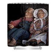 Mannequin Old Couple In Shop Window Display Color Photo Shower Curtain