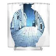 Man's Profile Silhouette With Old City Streets Shower Curtain