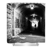 Man's Silhouette In Urban Tunnel Black And White Shower Curtain