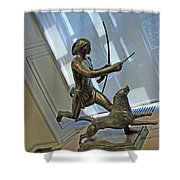 Manship's Indian Running With Dog Shower Curtain