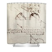Manuscript B F 36 R Architectural Studies Development And Sections Of Buildings In City With Raise Shower Curtain