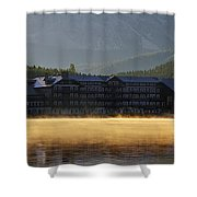 Many Glacier Hotel Sunrise Panorama Shower Curtain