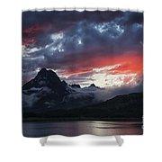 Many Glacier Sunset Shower Curtain