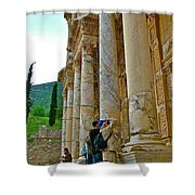 Many Photographers At Library Of Celsus-ephesus Shower Curtain