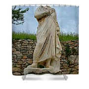 Many Sculptures Lost Their Heads In Ephesus-turkey Shower Curtain