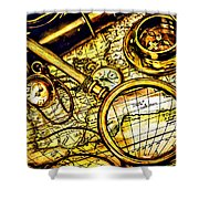 Map And Compass Shower Curtain