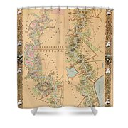 Map Depicting Plantations On The Mississippi River From Natchez To New Orleans Shower Curtain