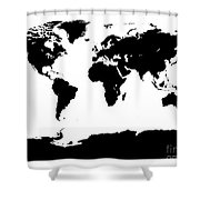 Map In Black And White Shower Curtain