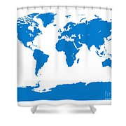Map In Blue Shower Curtain
