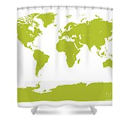 Map In Chartreuse Green Shower Curtain