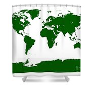 Map In Forest Green Shower Curtain