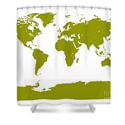 Map In Olive Green Shower Curtain