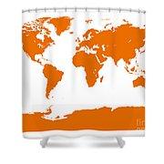 Map In Orange Shower Curtain